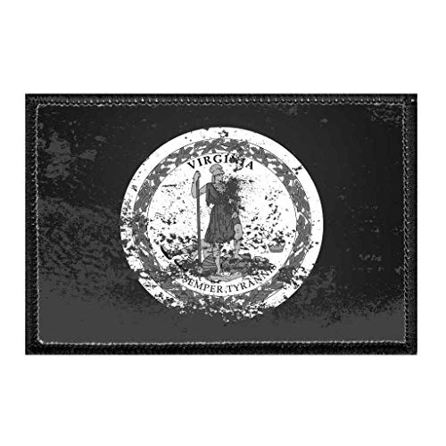 Virginia State Flag - Black and White - Distressed | Hook and Loop Attach for Hats, Jeans, Vest, Coat | 2x3 in | by Pull Patch -  P PULLPATCH, PP-P-32-1377
