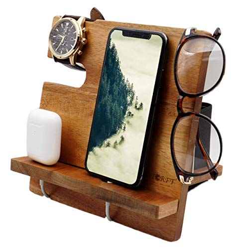 WUTCRFT - Wooden Phone Docking Station/Bedside Nightstand Organizer for Phone, Wallet, Watch, Glasses and Airpods, Perfect as a Desk Organizer Station, Anniversary or Birthday Gift, and Gifts for Men