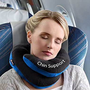 BCOZZY Chin Supporting Travel Pillow - Supports the Head, Neck and Chin in in Any Sitting Position. A Patented Product. Adult Size, BLACK