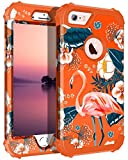 Casetego Compatible with iPhone 6S Case,iPhone 6 Case,Floral Three Layer Heavy Duty Hybrid Sturdy Shockproof Protective Cover Case for Apple iPhone 6S/6,Flamingo