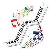 JDH Piano portátil Enrollado a Mano, Teclado Plegable de 88 Teclas de Estilo múltiple, Piano electrónico portátil de práctica Profesional para Adultos, para Principiantes