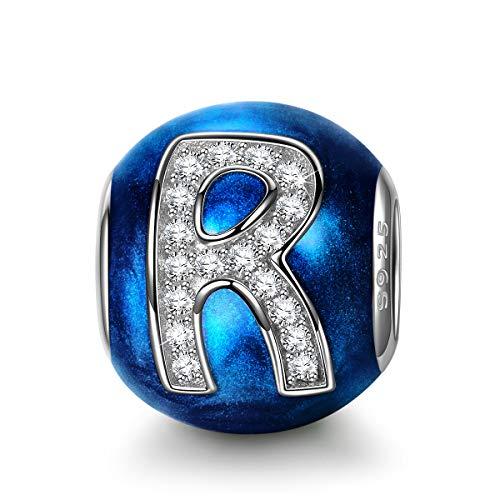 NINAQUEEN Charm para Pandora Charms Originales Plata 925 Letra R Azul Colgantes Regalos Mujer Zirconia Esmalte Abalorios Compatible con Pulsera Pandora & Europeo, con Caja de Regalo