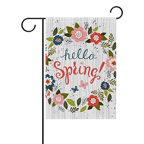 U LIFE Hello Spring Floral Flowers Leaves Garden Yard Flag Banner for Outside House Flower Pot Double Side Print 12 x 18 Inch