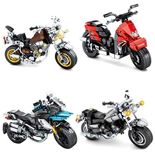 VIPO Technik Motorrad Bausteine Modell, 4 Sätze/1015 Teile Motorrad Modellbau Konstruktionsspielzeug Kompatibel...