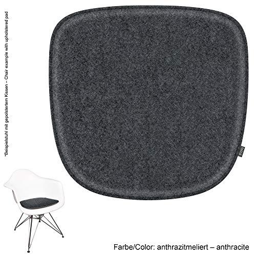 noe - Cojín Acolchado de Fieltro ecológico Adecuado para sillón Vitra Eames – DAW, Dar, RAR, Dax, DAL, Rocker con Revestimiento Antideslizante, Anthrazitmeliert, 40x37cm