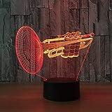 TJLJFTILTIR Instrument de Musique Trompette 3D LED Night Light 7 Couleur Table à...