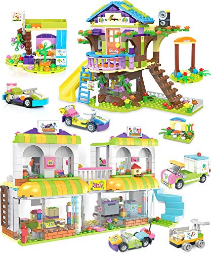 Tree House Building Kit Supermarket Creative Building Toy Set for Kids, Best Learning and Role Play Gift for Girls and Boys with Storage Box (1195 Pieces)