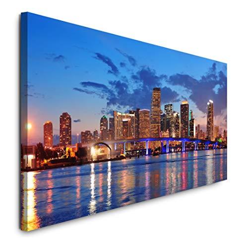 Paul Sinus Art GmbH Miami Skyline 120x 50cm Panorama Leinwand Bild XXL Format Wandbilder Wohnzimmer Wohnung Deko Kunstdrucke