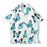 PENNY73 Camisa con Estampado de Mariposas Voladoras Camisa Hawaiana para Hombre con Botones y Solapa a la Moda Top de Secado Rápido,White,2XL(190cm95kg)