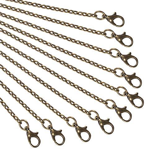NBEADS Halskette, 10 Stück, 80 cm, Antik-Bronze-Draht, Kette mit Karabinerverschluss, für Anhänger, Halskette, Armband, DIY Schmuckherstellung