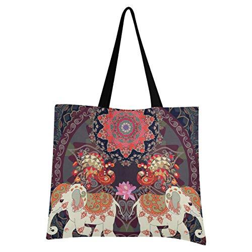 XIXIXIKO - Bolsa de lona ligera con diseño de elefante étnico indio y mandala, bolsa de lona para el hombro, resistente para mujeres, niñas, compras, gimnasio, playa, viajes diarios