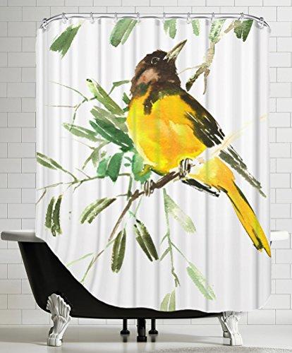 American Flat A108P625SHOW7174 Baltimore Oriole Shower Curtain by Suren Nersisyan, 71' x 74'