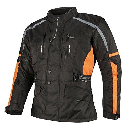 Ledershop-online 1876 Bangla Motorradjacke Tourenjacke Motorrad Jacke Herren Schwarz Orange XL