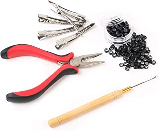Hair Extensions Tools Kit for Hair Extensions: Pliers, Micro Pulling Needle, 100pcs Black Micro Link Rings Beads & 5pcs Silver Metal Alligator Hair Pins