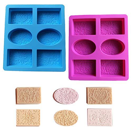 Zasiene Molde Jabon 2 Piezas Moldes de Silicona para Jabones Patrón Exquisito Moldes para Jabones Caseros Jabón Silicona que Hace Moldes para DIY Jabón Chocolate Gelatina(6 Patrones)