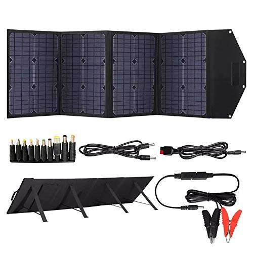 100w Foldable Solar Panel - Solar Charger Kit for Portable Generator, Power Station with 2 USB Ports & 18V DC Output for RV Boat Laptop Tablet GPS Smartphones Camera Lamp Travel Picnic Camping