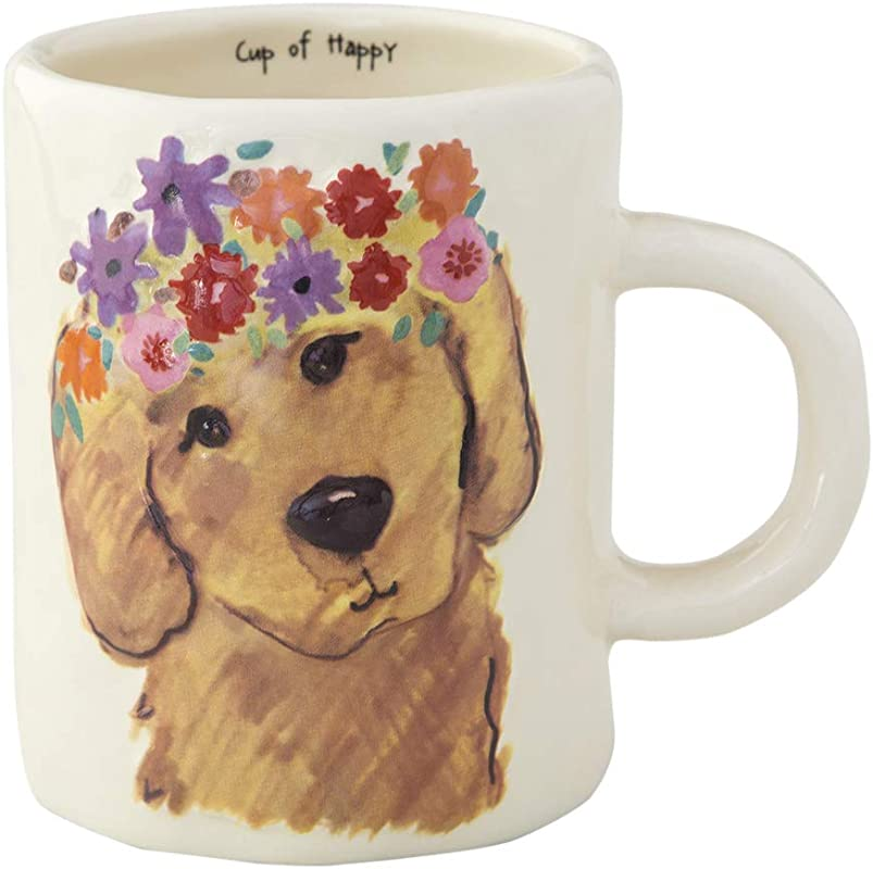Natural Life Golden Retriever Coffee Mug 14 Oz Fun Cute Embossed Ceramic Dog Cup With Handle For Coffee Tea More