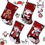BAIBEI 4Pcs Medias de Navidad, Christmas Stocking Calcetines, Decoración Navideña...