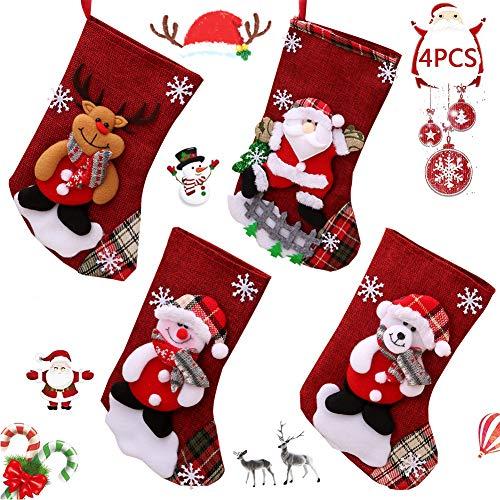 BAIBEI 4Pcs Medias de Navidad, Christmas Stocking Calcetines, Decoración Navideña Caramelo Regalo Bolsa Santa Claus, Muñeco de Nieve Reno Oso
