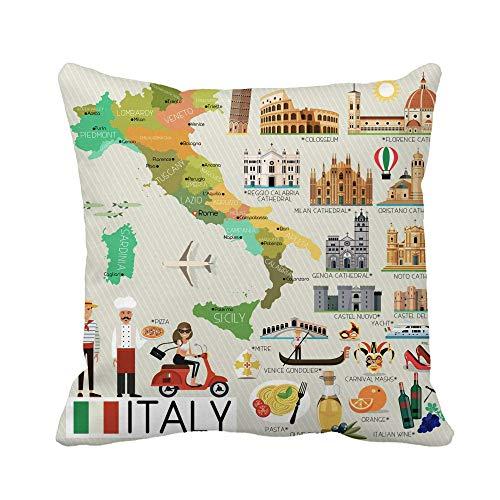 Guduss Funda de almohada con diseño de mapa de Nápoles de Italia y viajes de Génova, Roma, 18 x 18 pulgadas