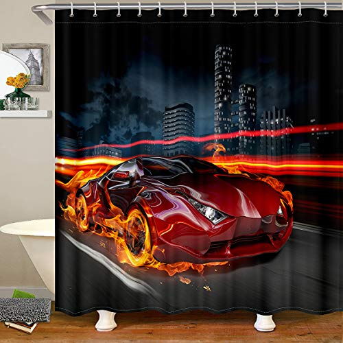 Race Car Shower Curtains Boys Teens Kids Sports Car Decor Waterproof Shower Curtain Sports Theme Bath Curtain for Youth Children Bathroom Decor Bathtub Shower Curtain With Hooks,72' W x 72' L