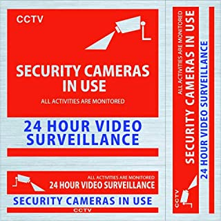 Video Security Surveillance Sticker Signs for Home/Business (3 Sticker Set) Made in Japan