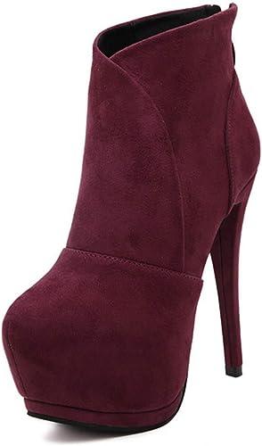 HBDLH Chaussures pour Femmes Très Hauts Talons Maigre Talon 14Cm Plate - Forme d'hiver étanches Martin Bottes Night - Club De Bottes.