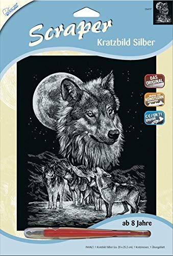 MAMMUT 136017 - Kratzbild, Motiv Wölfe, silber, glänzend, Komplettset mit Kratzmesser und Übungsblatt, Scraper, Scratch, Kritzel, Kratzset für Kinder ab 8 Jahre