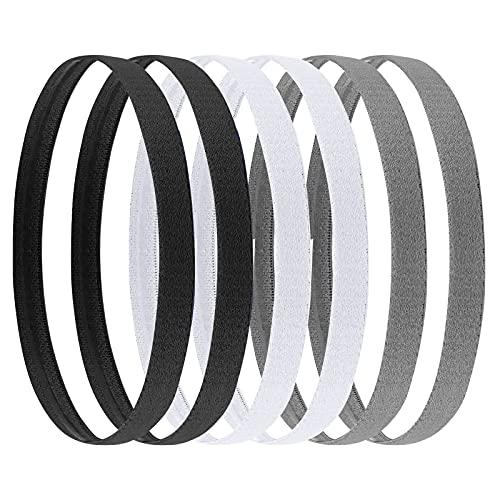 AvoDovA 6 Stück Elastische Sport Stirnbänder Haarbandfür Damen Herren, Antirutsch Elastische Thin Stirnbänder Schweißband für Jogging, Laufen, Tennis, Fußball, Golf(Schwarz Weiß und Grau)