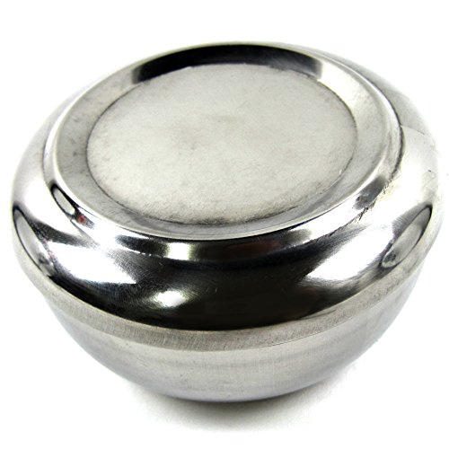Korean Style Stainless Steel Rice Bowl With Cover Restaurant Serving Dish Silver
