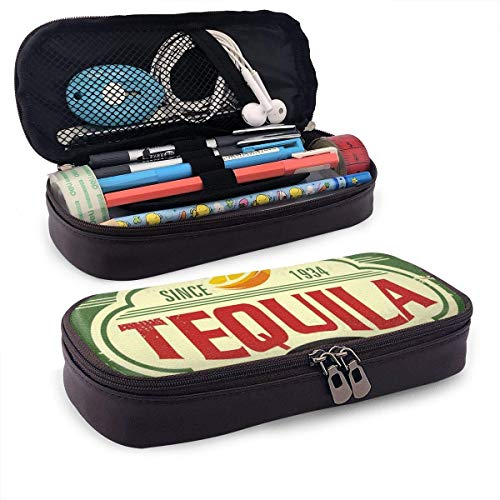 XCNGG Tequila Bar Vintage Tin Sign for Mexican Tradition PU Leather Pencil Pen Case Pouch Bag with Zipper School Supplies for Student Coin Purse Cosmetic Makeup Bag