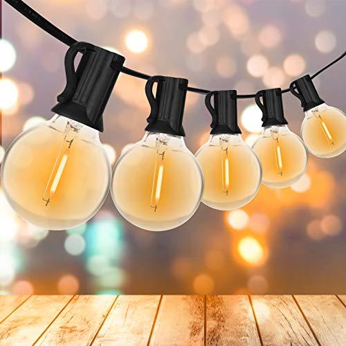 Lichterkette Außen, 9 Meter 25 Glühbirnen mit 2 Ersatzbirnen G40 LED Warmweiß Garten Außerhalb Birnen Lichterkette Terrasse Wasserdichte Innen/Außen Lichterketten Deko für Party, Weihnachten