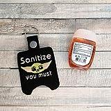 Black Sanitize You Must - Vinyl Holder for 1oz bottle of Hand Sanitizer - Vegan Leather