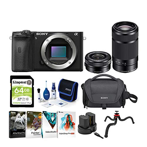 Sale!! Sony Alpha a6600 APS-C Mirrorless ILC Bundle with 16-50mm & 55-210mm Lenses (9 Items)