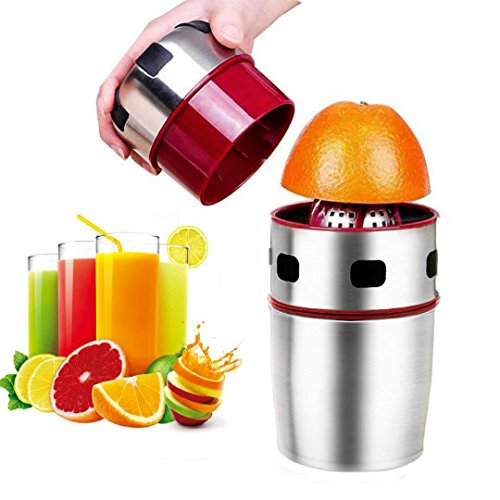 Lukasa Citrus Juicer Manual Orange Juicer Portable Stainless Steel Hand Grapefruit Squeezer Lid Rotation Squeezer for Lemons, Tangerines and Other Fruits