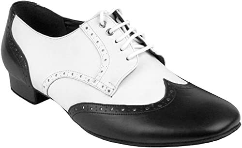 Men Tap Dance Shoes Wearable Lace-up Dancing Shoes Stage Perform Match Heels