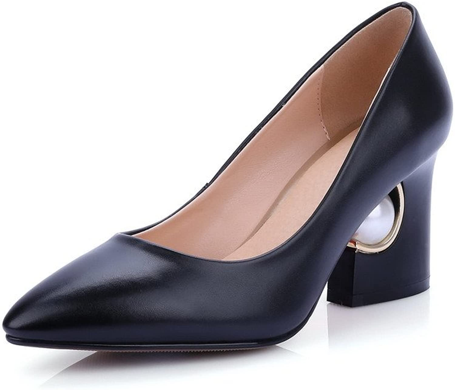 WeenFashion Women's Pull On Cow Leather Pointed Closed Toe High Heels Pumps shoes with Gem