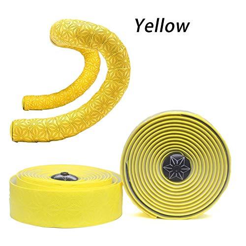 L-Yune, Super Sticky Kush Cinta de manillar Bartape Cinta original de Supacaz Cinta de barra de bicicleta de carretera Barras de bicicleta de carbono Puños Ciclismo de carretera ( Color : All yellow )