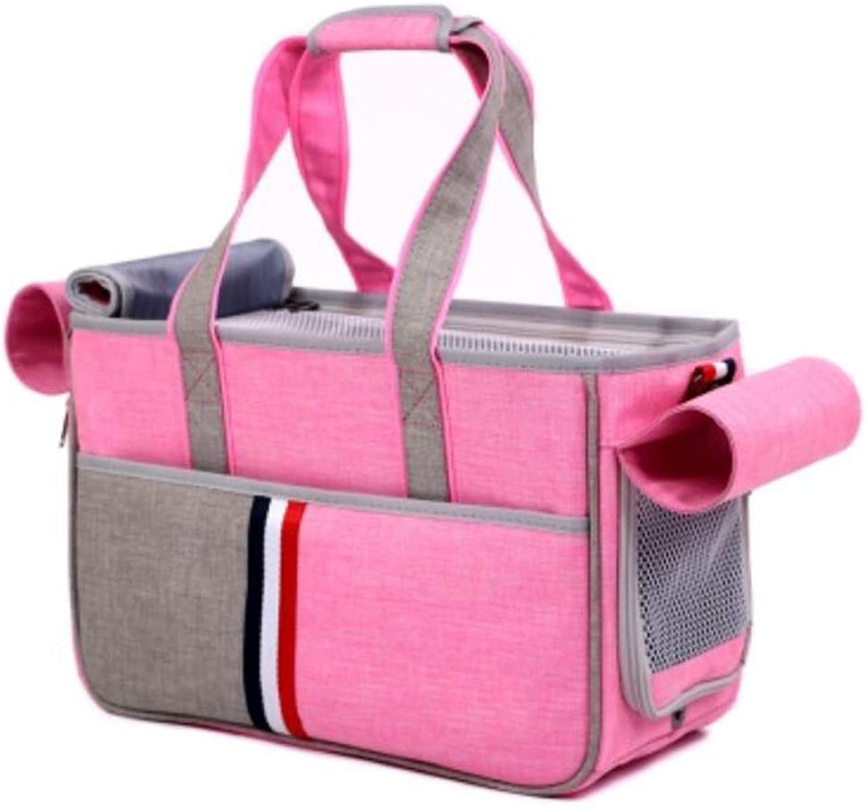 FJH Pet Bag Dog Out Carrying Bag Cat Handbag Breathable Comfortable Dog Bag Cat Bag Backpack (color   Pink)
