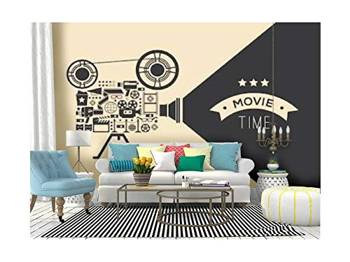 Self Adhesive Wallpaper Roll Paper Composition with cinema decorative design elements Cinema projector Removable Peel and Stick Wallpaper Decorative Wall Mural Posters Home Covering Interior Film