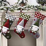 FREESOO Medias de Navidad, Juego de 3 Calcetines de Navidad Bolsa de Regalo Bordado de...