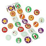 Feelava Weihnachtssticker 500 Stück süße runde Gesicht Aufkleber Neuheit Papieretiketten für Weihnachtsdekoration Verpackung Dichtungen Handwerk Tag Kinder Party Favor Scrapbooking