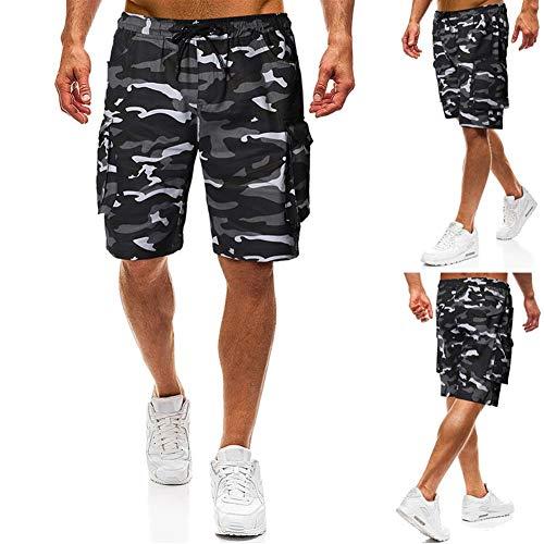 Men's Sexy Lichtgewicht Tether riem mode toevallige camouflage ladingsborrels Katoen Lengte Sport (Color : Black, Size : XL)