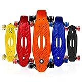 Mini Skateboard para Niños de 21 Pulgadas, Monopatín de Crucero de Plástico, Monopatín de Una Sola Cubierta Inclinada con Ruedas de Luz LED para Niñas, Niños, Principiantes (Color : Amarillo)