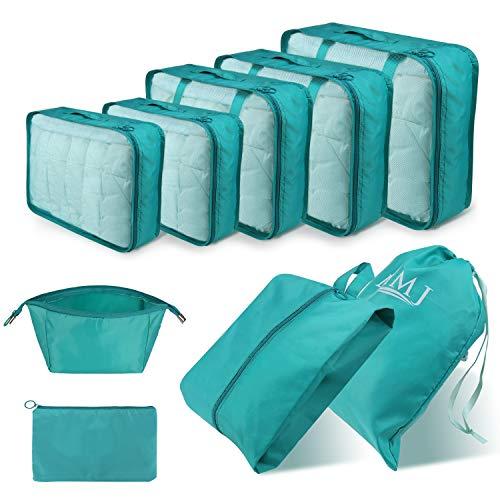 cubi da viaggio, set di 9 cubi di imballaggio organizer valigia essential organizer borse da viaggio pieghevoli impermeabili sacchetto da viaggio legg
