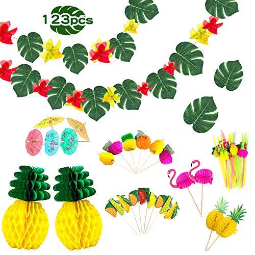 Ucradle 123PCS Hawaii Tropical Party Dekoration Kit, Tropische Sommerparty, mit Hawaii Blumen, Palmenblätter, Ananas Wabenbälle, Seidenpapier Fan, 3D Fruchtstrohhalme für DIY Garten Beach Party Deko.