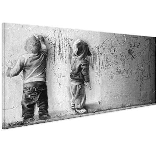 Bild auf Leinwand Banksy Graffiti Kunstdruck Street Art - Boys Painting-Leinwandbild Kunstbilder (70x30 cm)