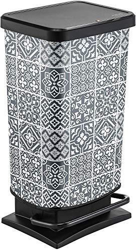 Rotho Paso, Cubo de basura de 40l con pedal y tapa, Plástico PP sin BPA, azulejos, 40l 35.3 x 29.5 x 67.6 cm