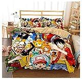 SSIN-Juego de funda nórdica Luffy One Piece-Funda de edredón con cierre de cremallera (14,220 x 240 cm)