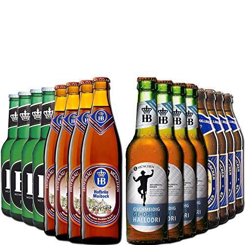 Hofbräu München Bierpaket - 16 Bayrische Biere in einem Paket - Die perfekte Geschenkidee für den Papa zum Geburtstag oder Vatertag für den Ehemann, Freund oder Kollegen zum Geburtstag